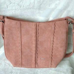 Kensie Crossbody Handbag Pink Suede Leather